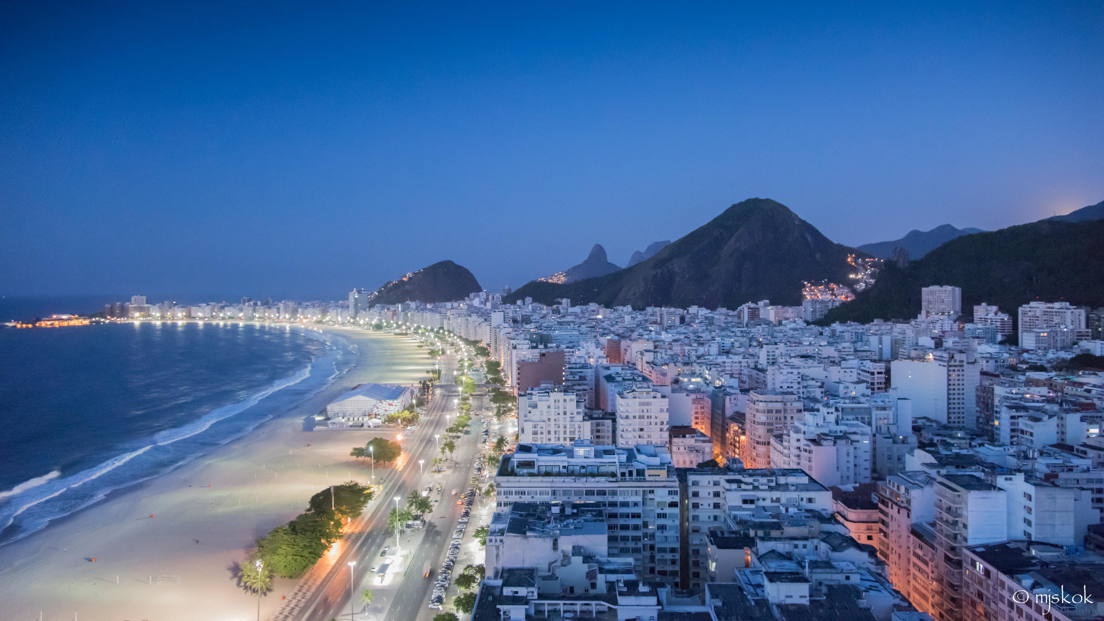 Final moonlight over Copacabana beach
